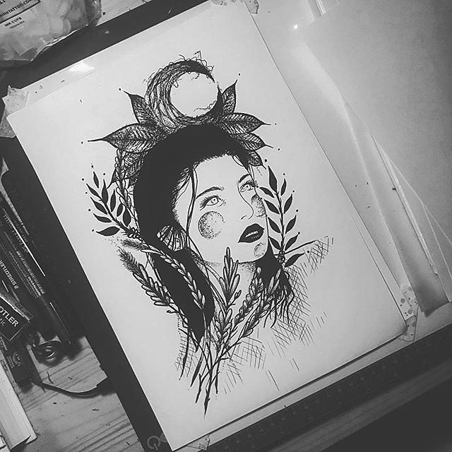Dark floral girl